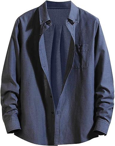 CAOQAO Camisa Hombre Manga Larga Blusa Casual Suelta Monocromo: Amazon.es: Ropa y accesorios