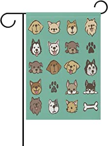 WIHVE Cartoon Dog Heart Cute Bone Garden Flag Banner 12 x 18 Inch ?for Anniversary Seasonal Home Outdoor Garden Decor - Double Sided