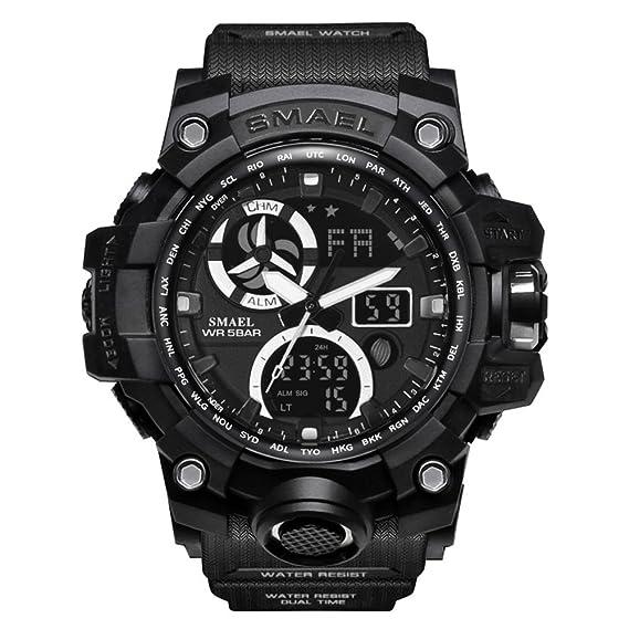 Reloj analógico Digital Hombre Reloj Negro sólido Digital Reloj Impermeable Relojes Militares: Amazon.es: Relojes