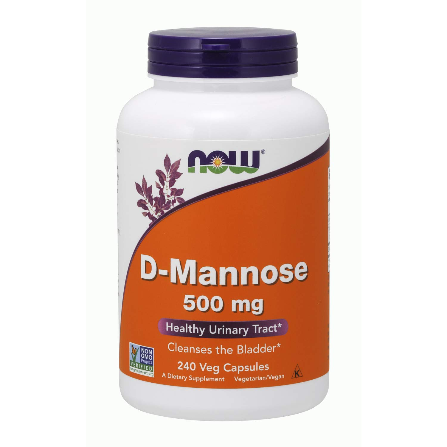 NOW Supplements, Certified Non-GMO, D-Mannose 500 mg, 240 Veg Capsules by NOW