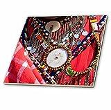 3dRose Danita Delimont - Jewelry - Africa, Kenya, Mara Ashnil region. Masai tribal jewelry. - 12 Inch Ceramic Tile (ct_276464_4)