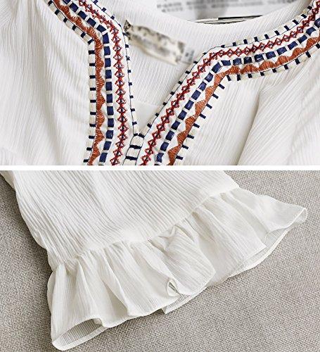 kurzen Kleider Weiße Dress weibliche Beach Kleidung Sommer Rock Stil Seaside Weiß ethnischen wwtxgUC
