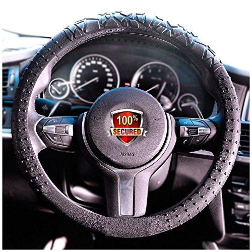 JYPC Silicone Anti-slip Car Steering Wheel Cover Novel Geometrical Pattern Universal 15 inch (Black)