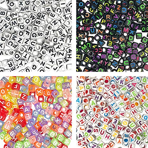 1000 Pieces 4 Color Acrylic Alphabet Letter Cube Beads for Jewelry Making Bracelets Necklace Key Chains and Kids DIY Crafts