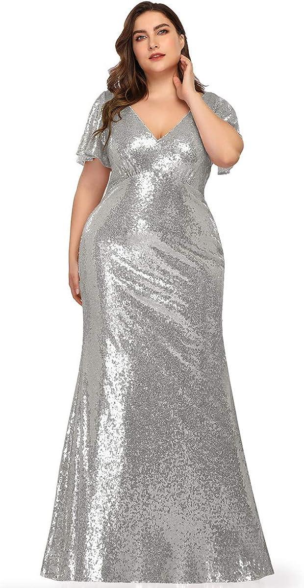 Ever-Pretty Abito da Sera Donna Sirena Vestito da Festa Scollo V Paillettes Manica Corta Lungo 07988