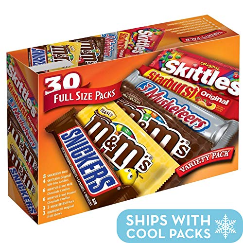 M&M'S, SNICKERS, 3 MUSKETEERS, SKITTLES & STARBURST Full Size Candy Variety Mix, 30 Count ()