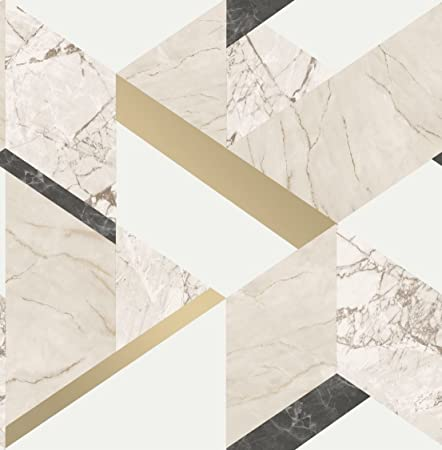 Cream Metallic Shiny Gold Marble Effect Geometric Wallpaper Luxury