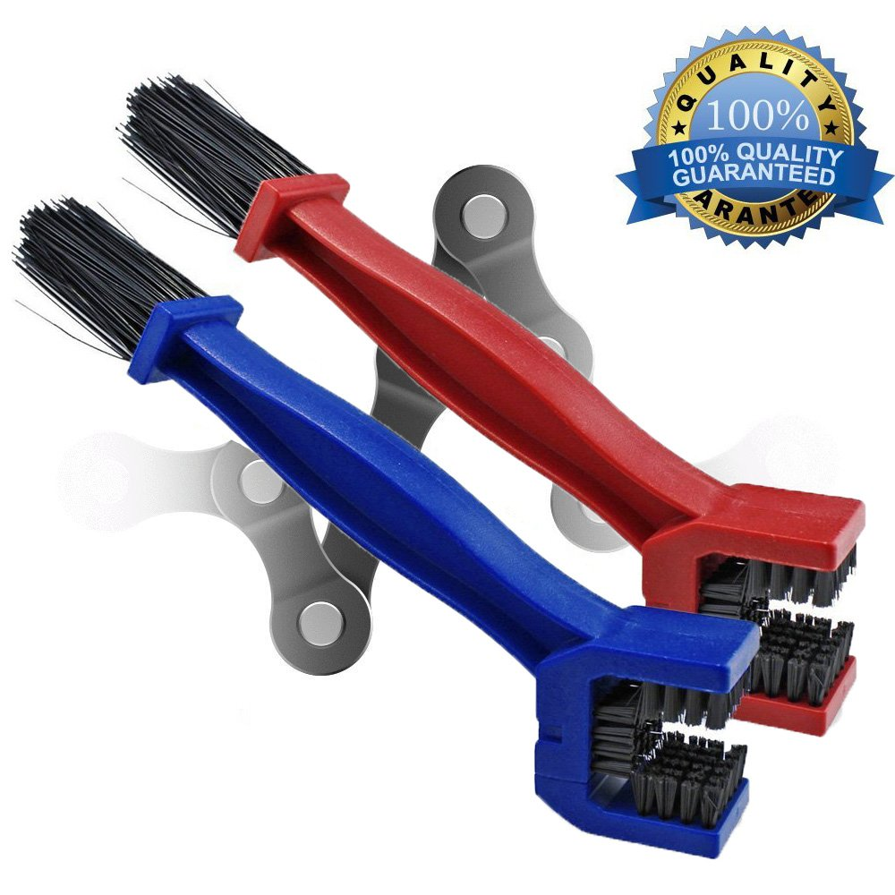 Motorcycle & Bicycle chain cleaning brush Mountain Bike Cleaning Maintenance Tool Pack of 2 (Red , Blue) Shineus