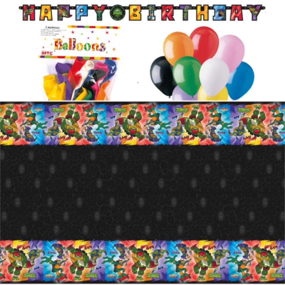 "Rise of The Teenage Mutant Ninja Turtles Themed Party Decorations – Includes Party Banner,Tablecloth and Ten 12"" Balloons."