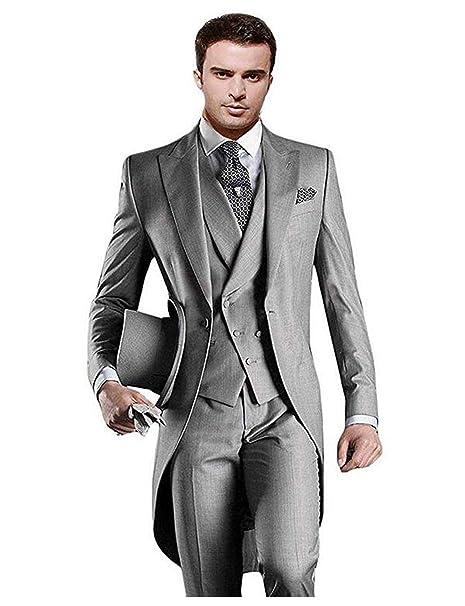 JYDress Mens Notch Lapel 2 Buttons Men Suit Slim Fit Tuxedos 3 Pieces Blazer