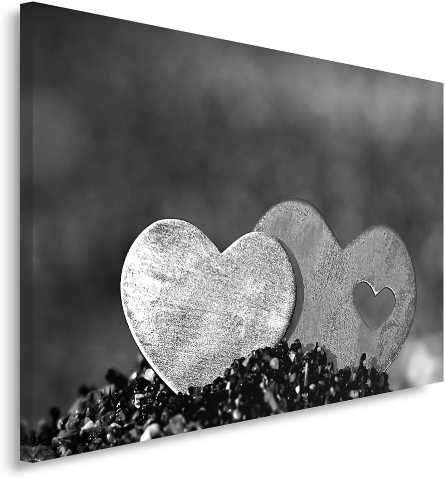 Feeby Frames, Cuadro en lienzo, Cuadro impresión, Cuadro decoración, Canvas 40x50 cm, DOS CORAZONES, BLANCO Y NEGRO