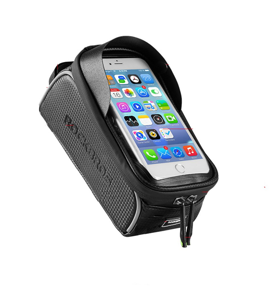 PRINTEMPS Bike Phone Mount Bag, Bicycle Frame Bike Handlebar Bags with Waterproof Touch Screen Phone, Cell Phone Below 6.0 Inch With Sun Visor by PRINTEMPS
