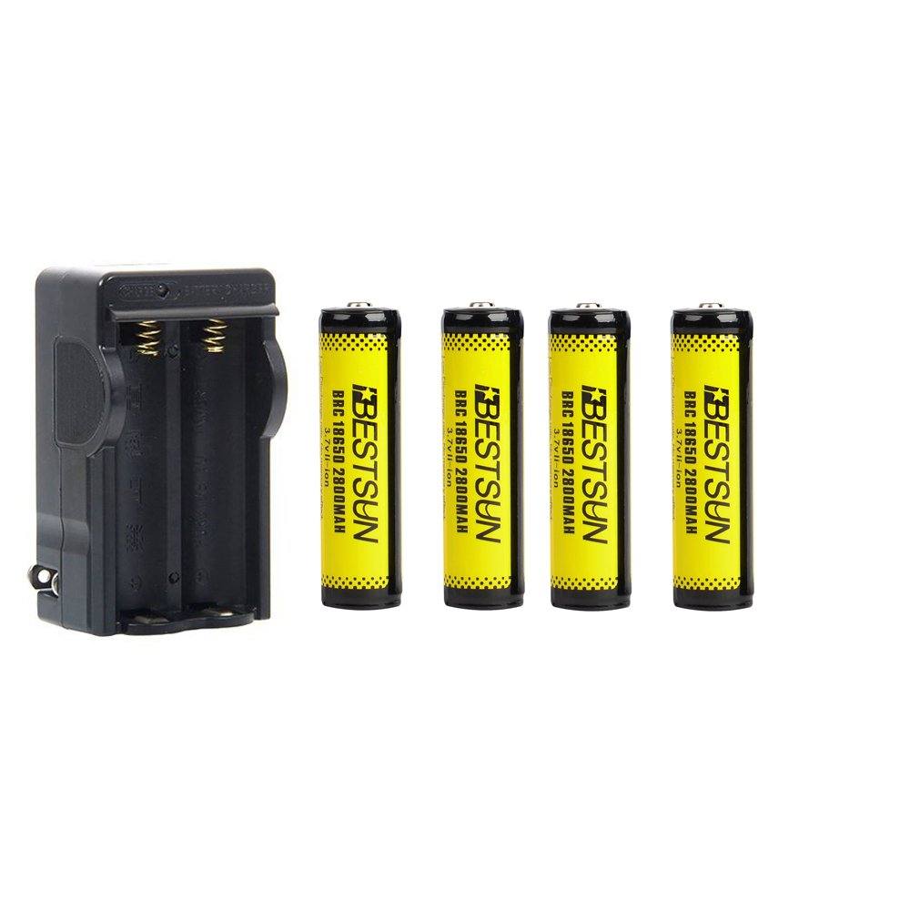 BESTSUN 4 Pack 18650 Lithium Rechargeable Batteries 3.7V 2800mAh Li-ion Battery with PCB Protection and 18650 Battery Charger for LED Flashlight, Headlamps