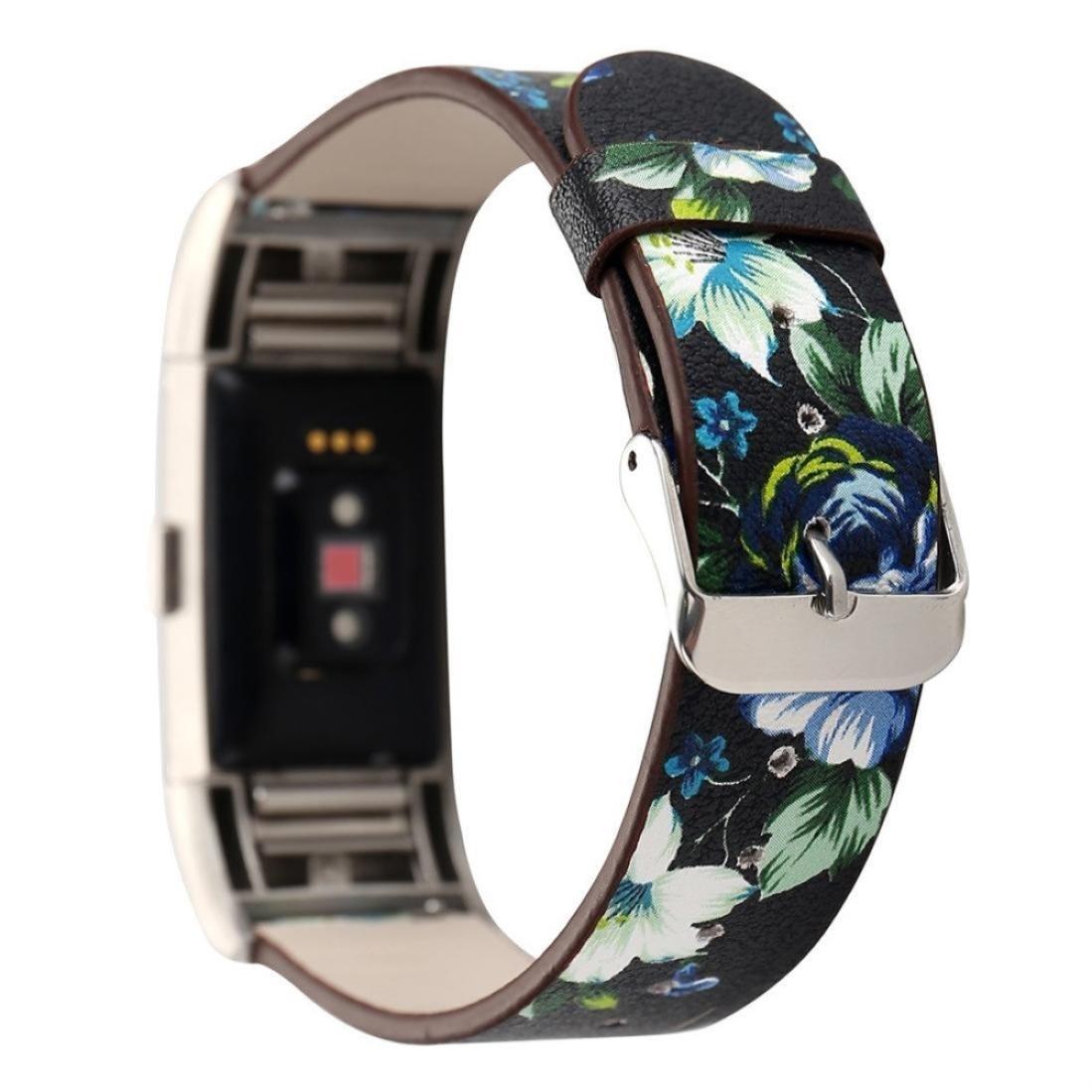 Editor 's Choice Memela ( TM ) for Fitbit Charge 2時計、排他的花柄パターンレザー時計バンド交換ストラップ B076CGT7PS E
