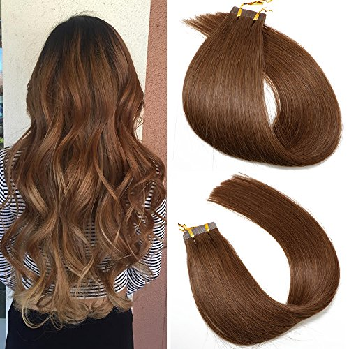 SeaShine Tape in Hair Extensions #4 Chocolate Brown 100% Remy Human Hair Extensions Silky Straight for Fashion Women 20 Pcs/Package(20Inch #4 50g)