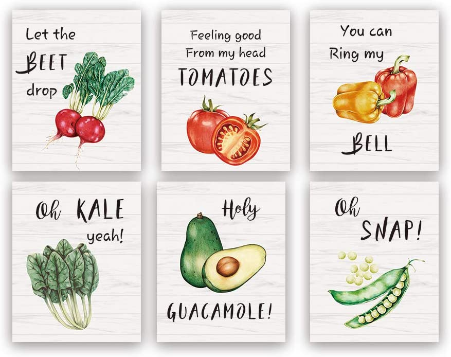Funny Kitchen Art Print,Set Of 6(8X10inch,Unframed) Beet Tomatoes Kale Vegetable Quote Canvas Poster,Botanical Farmhouse Style Wall Art For Restaurant Dining Room Decor