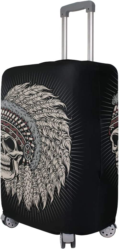 ALAZA Luggage Protector,Indian Chief Skull Elastic Travel Luggage Suitcase Cover,Washable and Durable Anti-Scratch Case Protective Cover for 18-32 Inches
