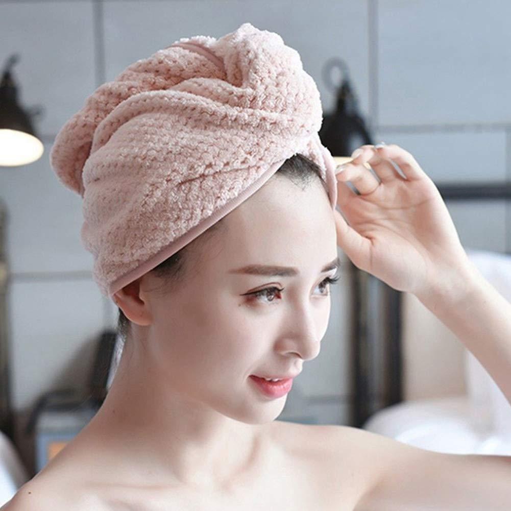 Sguan-wu super assorbente Asciugamano turbante in microfibra per asciugare i capelli da donna