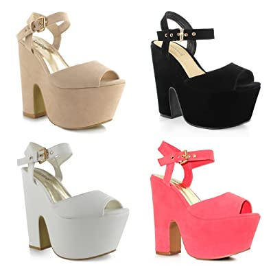 42dca95ce3d Chockers Shoes Womens Ladies Girls Faux Suede Leather Black Beige White  Coral Summer Party Wedding Prom