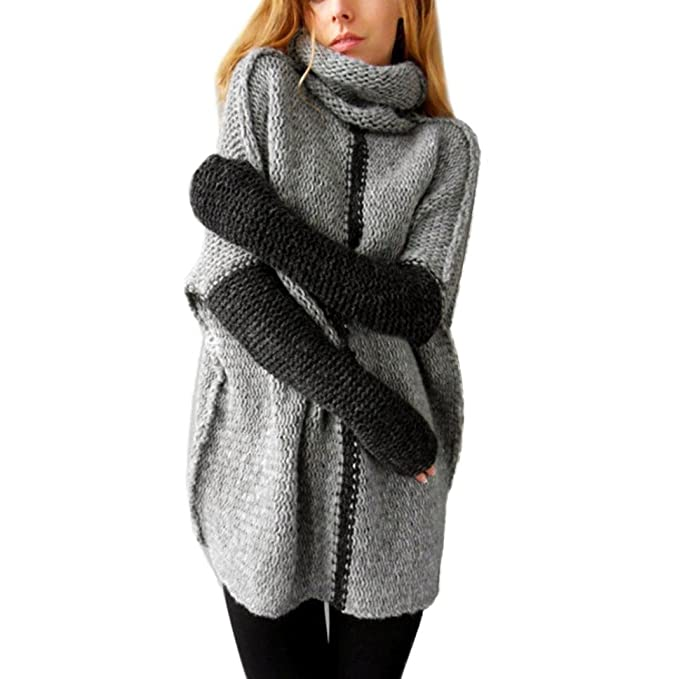 OverDose Mujeres Otoño Invierno Pullovers Turtleneck Sweater Hecho punto Outwear (S, Gris)