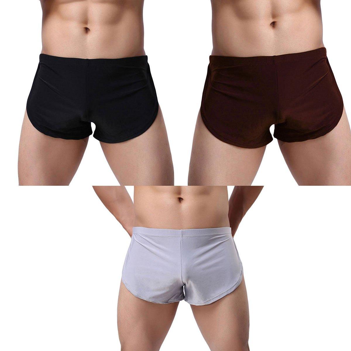 Banana Bucket Men's Split Side Sexy Breathable Boxer Underwear  3-pack Black+coffe+grey 33-36 inches