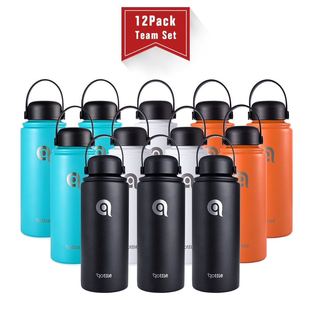 qottle 12-Pack Couple Bottles Vacuum Insulated Stainless Steel Water Bottle - Double Wall Vacuum for Hot and Cold Insulation Flask for Outdoor Sport Camping Hiking-32oz 4 Colors