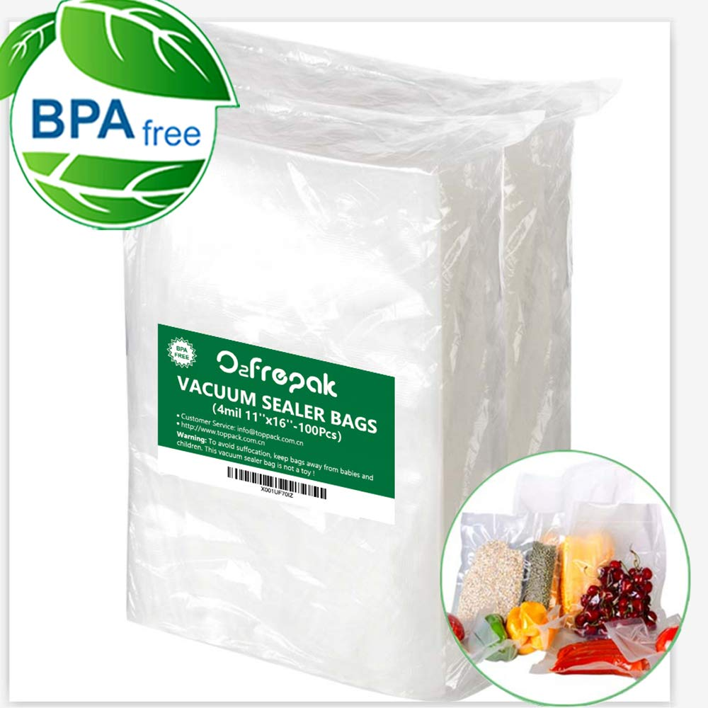 100 Gallon 4mil11'' x 16'' Size Vacuum Sealer Bags for Food Saver Storage, Seal a Meal Vac Sealers, BPA Free, Heavy Duty Commercial Grade, Sous Vide Vaccume Safe, Upgrade Design Pre-Cut Bag by O2frepak