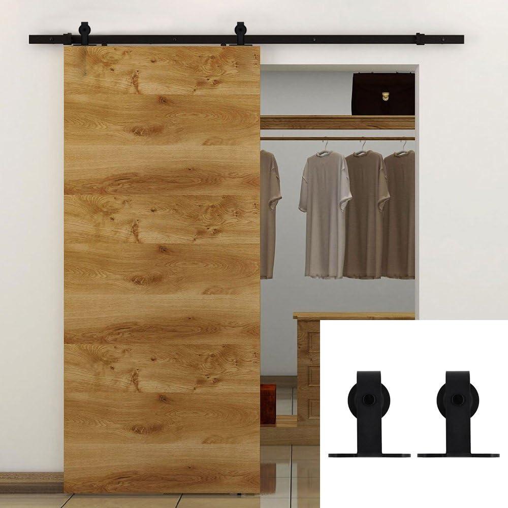 Hahaemall 243,84 cm/2,44 moderna habitación exterior puerta deslizante pista rodillo de hardware para colgar en puerta de granero madera negro Metal Barra Set: Amazon.es: Bricolaje y herramientas