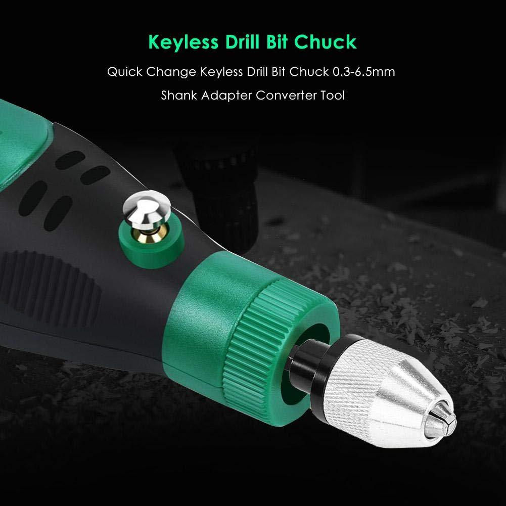 Drill Bit Set Quick Change Keyless Drill Bit Chuck 0.3-6.5mm Shank Adapter Converter Tool