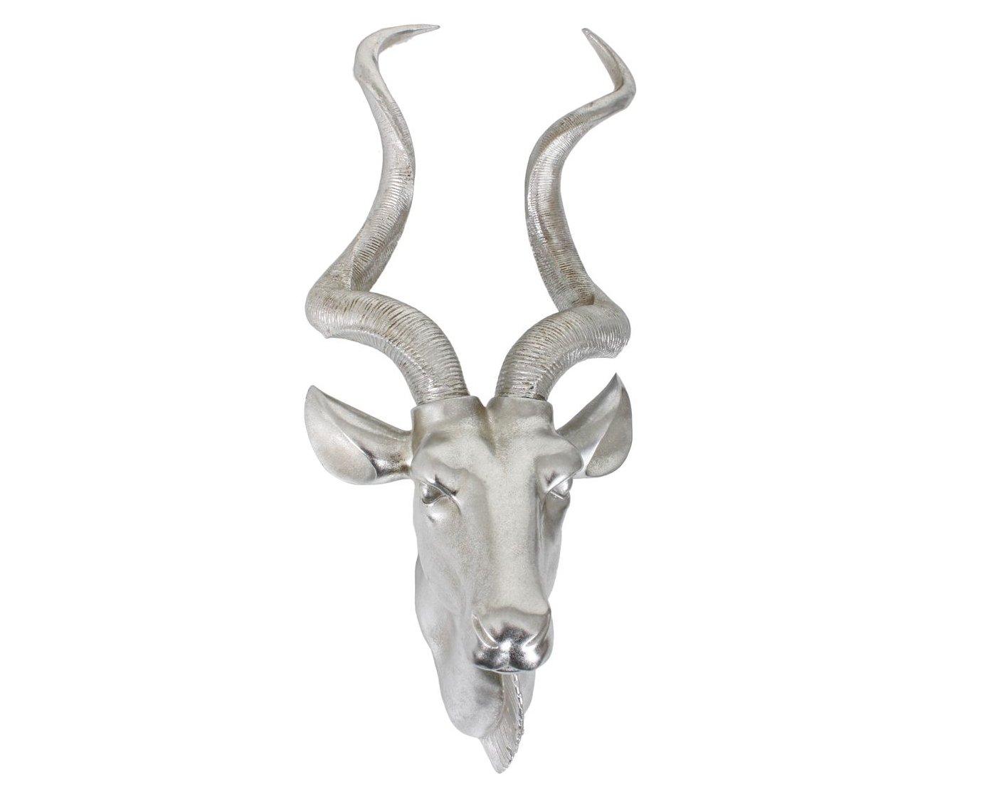 Jardinion Deko Geweih, Antilope, Edel Design Wanddeko Eyecatcher, Polyresin silberfarbend glänzend, Echtgröße, Tier Kopf Jagd