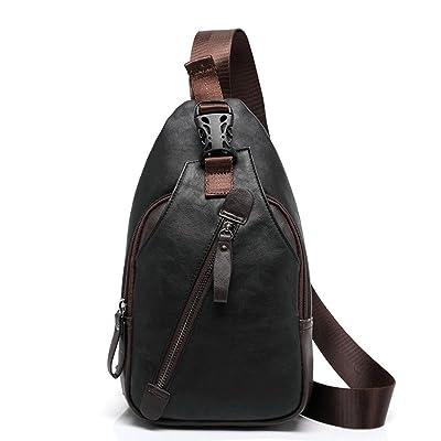 TraderPlus Men's Shoulder Backpack Leather Cross Body Chest Bag Travel Rucksack Sling Retro Bag well-wreapped