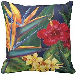 VANMI Throw Pillow Cover Floral Bird Tropical Paradise Hawaii Decorative Pillow Case Home Decor Square 18 x 18 Inch Pillowcase