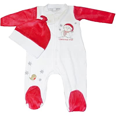 2 Piece Christmas Set Velour All in One & Hat for Infants (0-3 Month)