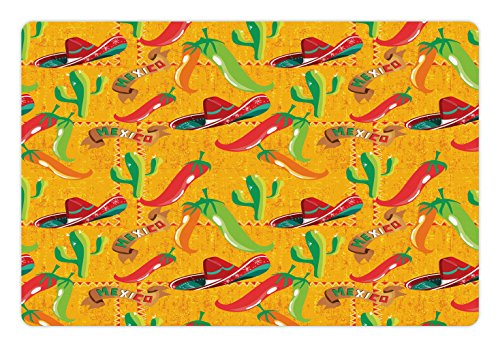 (Lunarable Mexican Pet Mat for Food and Water, Elements with Cactus Hat and Chili Pepper Pattern Over Grunge Background Print, Rectangle Non-Slip Rubber Mat for Dogs and Cats, Multicolor)
