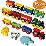Toys : ToysOpoly Wooden Train Set 12 PCS - Magnetic Engines With 3 Bonus Animals - Deluxe Toys For Kids Toddler Boys and Girls - Compatible with Thomas Railway, Brio Tracks, and Major Brands