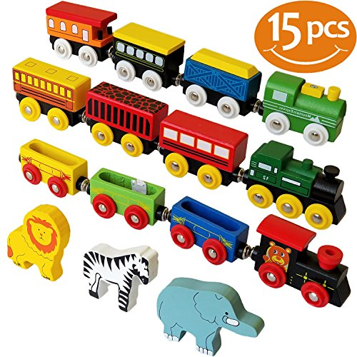 - ToysOpoly Wooden Train Set 12 PCS - Magnetic Engines With 3 Bonus Animals - Deluxe Toys For Kids Toddler Boys and Girls - Compatible with Thomas Railway, Brio Tracks, and Major Brands