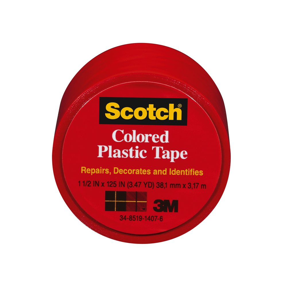 Scotch 191RD-6 Colored Plastic Tape, 1.5 x 125-Inch, Red
