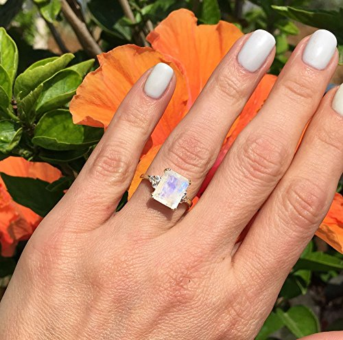 - Rainbow Moonstone Ring - June Birthstone - Statement Ring - Gold Ring - Engagement Ring - Rectangle Ring - Cocktail Ring