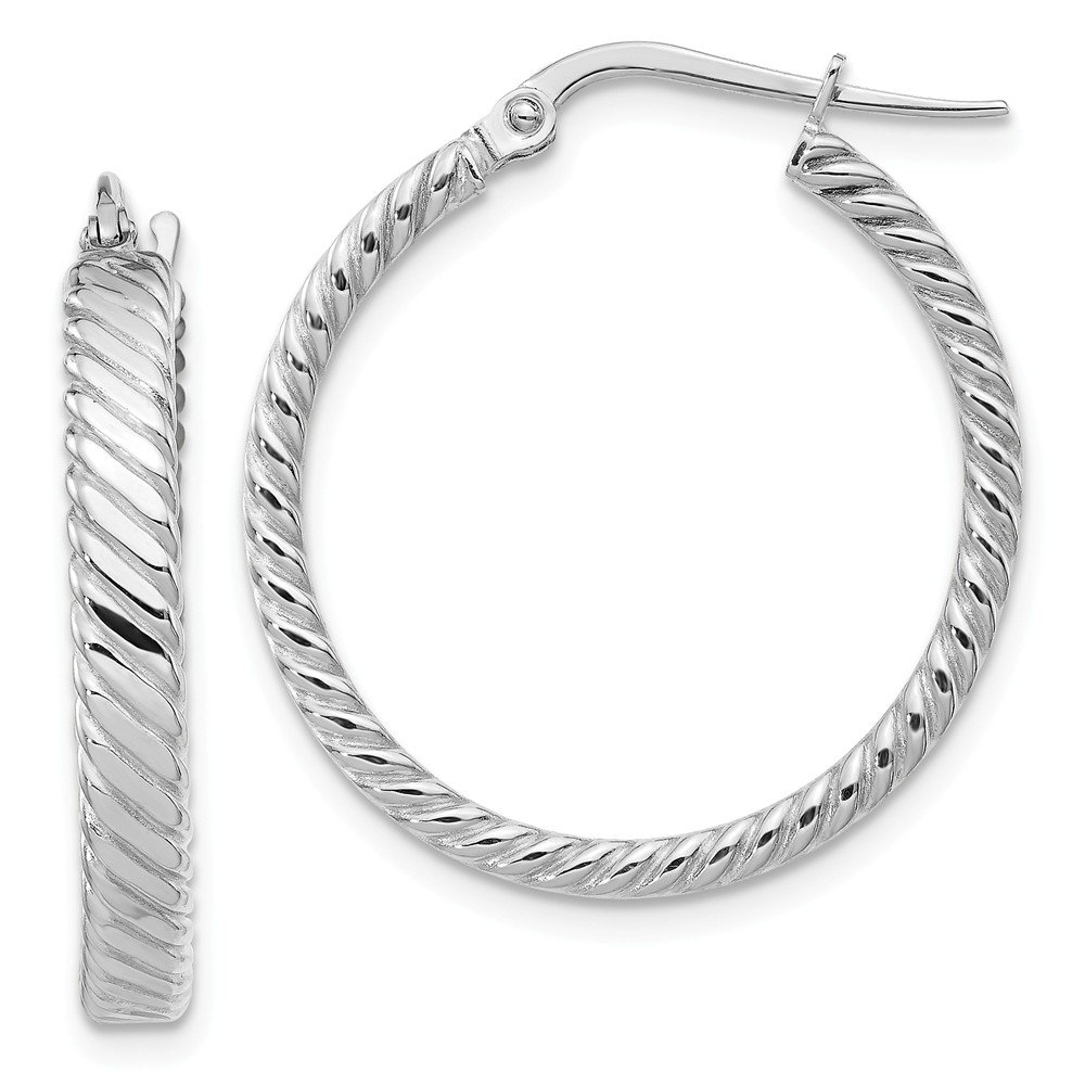 Mia Diamonds 14K White Gold Patterned Hoop Earrings