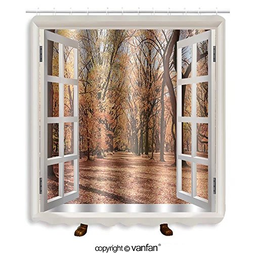 Vanfan designed Windows 273204293 Foliage at mall in central park Shower Curtains,Waterproof Mildew-Resistant Fabric Shower Curtain For Bathroom Decoration Decor With Shower - Mall Central Queen