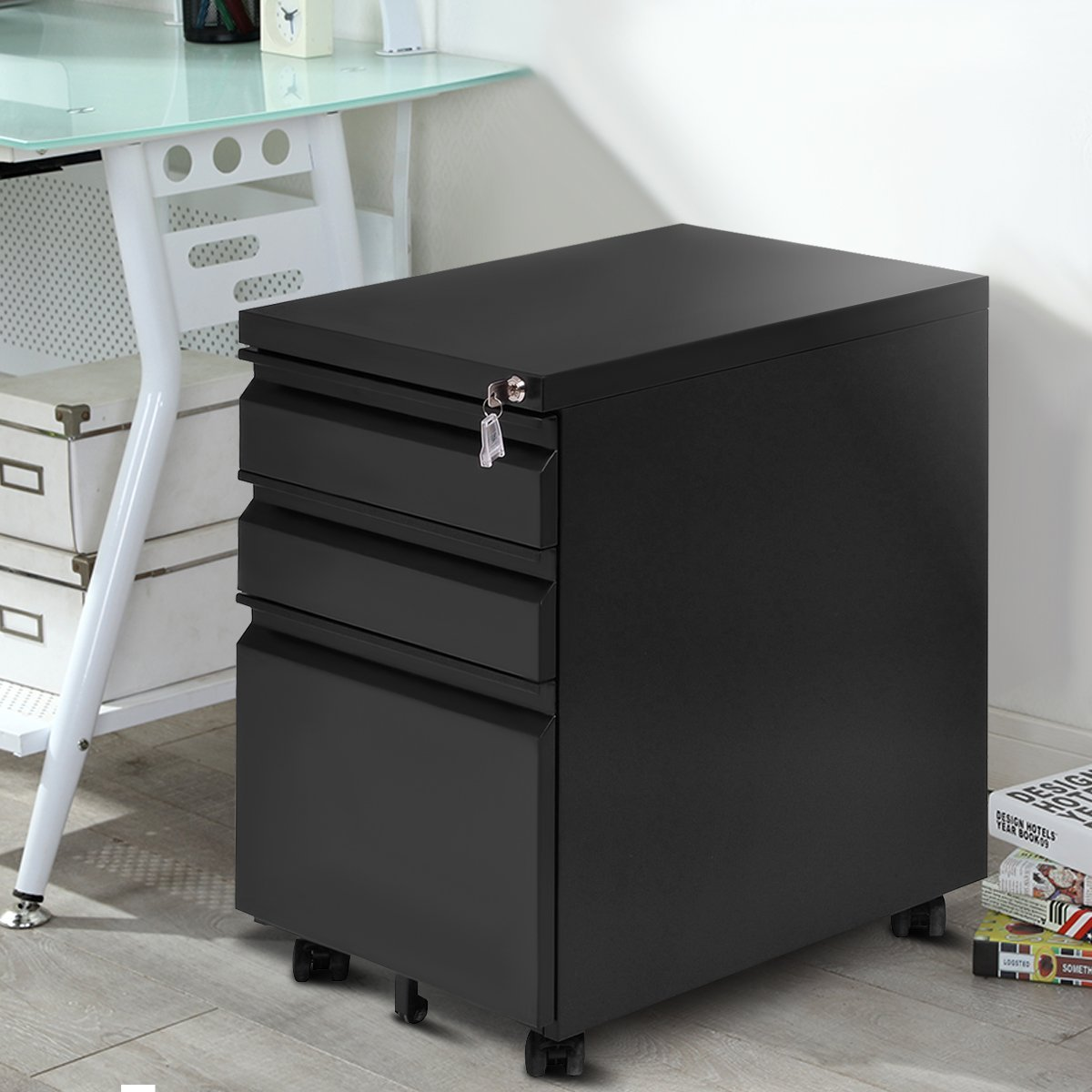 Giantex Rolling Mobile File W/3 Lockable Drawers and Pedestal for Office Study Room Home Steel Storage Cabinet by Giantex (Image #2)