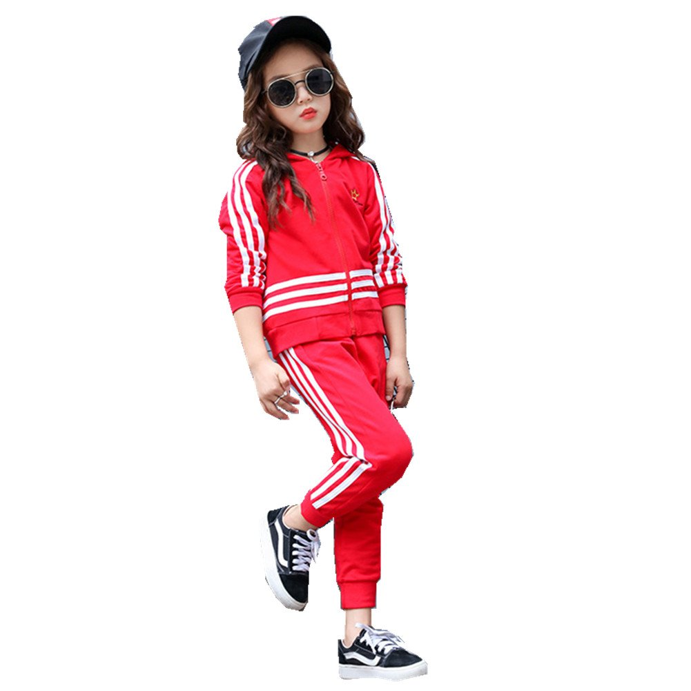 FTSUCQ Kids Zip Front Striped Sports Tracksuits Sweatsuits Jacket + Pants,Red 150