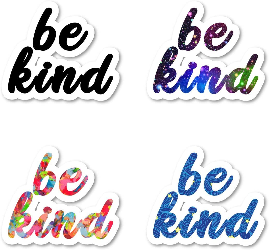 Be Kind Sticker Pack Inspirational Quotes Stickers - 4 Pack - Laptop Stickers - for Laptop, Phone, Tablet Vinyl Decal Sticker (4 Pack) S211249