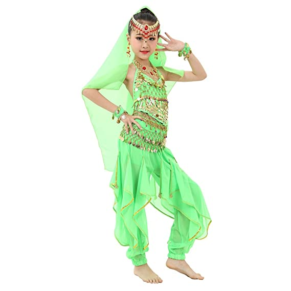 9e192836d7c5 BOZEVON Children Girl Belly Dance Costumes Kids Belly Dancing Egypt Dance  Outfits 6Pcs: Amazon.co.uk: Clothing