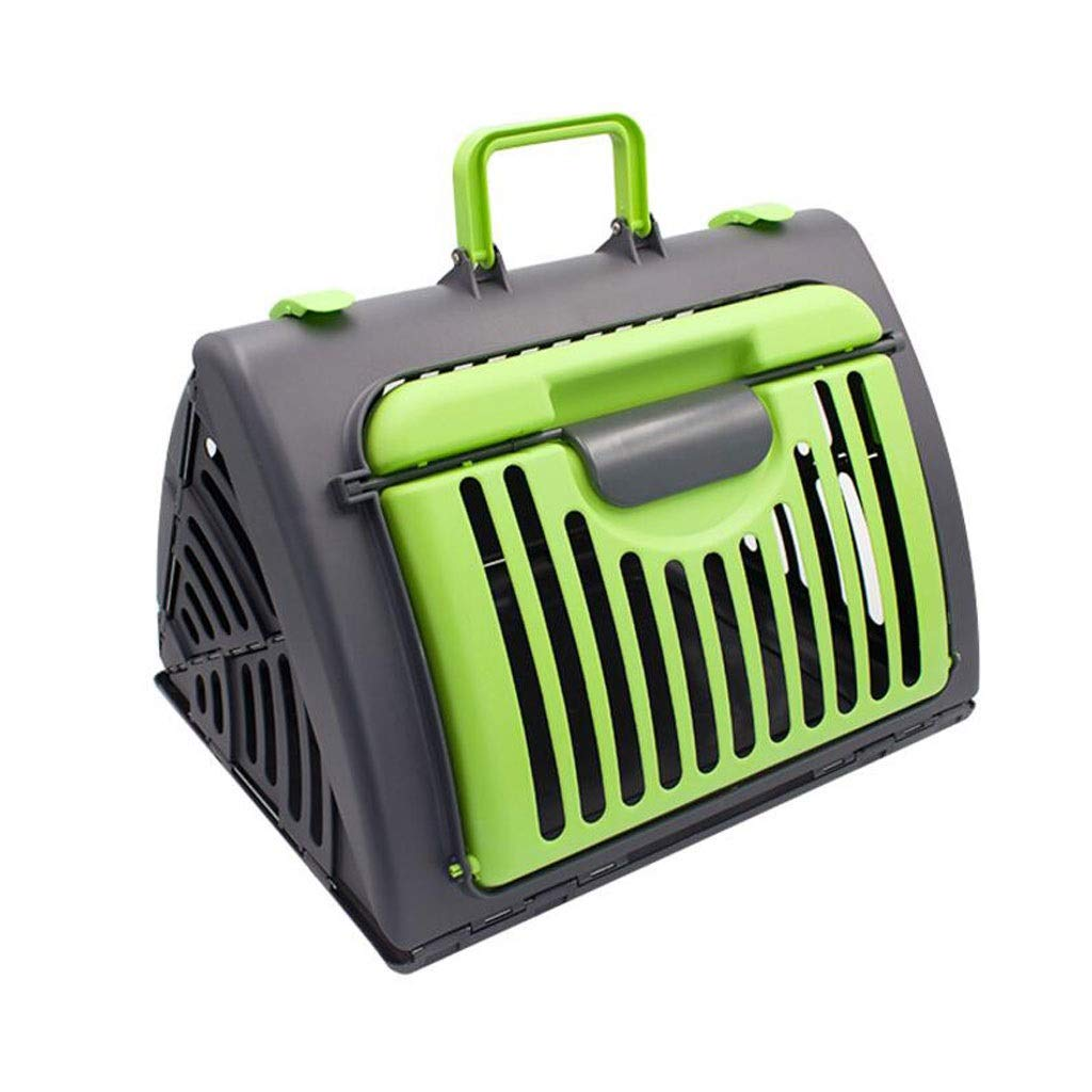 Green YULAN Folding Pet Box Plastic Cage Cat Dog Travel Transport Portable Car Out Shipping 3 color 45  35  33cm (color   Green)