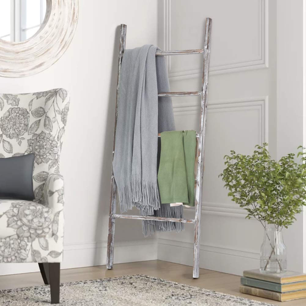 RHF 48'' Decorative Blanket Ladder,Ladder Shelf,Leaning Shelf,Decorative Ladder for Bathroom, Ladder Shelf Stand, Rustic Farmhouse Wood Ladder,Ladder Shelves,No Assembly Required (4 Ft, White-Washed) by Rose Home Fashion