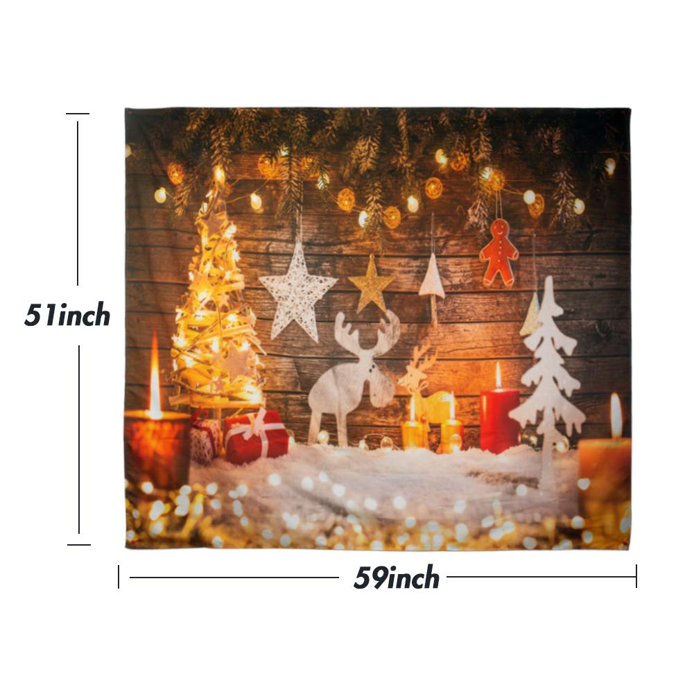 BigOtters Christmas Tapestry, Christmas Tree Reindeer Snow Stars Gingerbread Man Wall Hanging Home Decor Tapestries for Bedroom Living Room Dorm, 59\