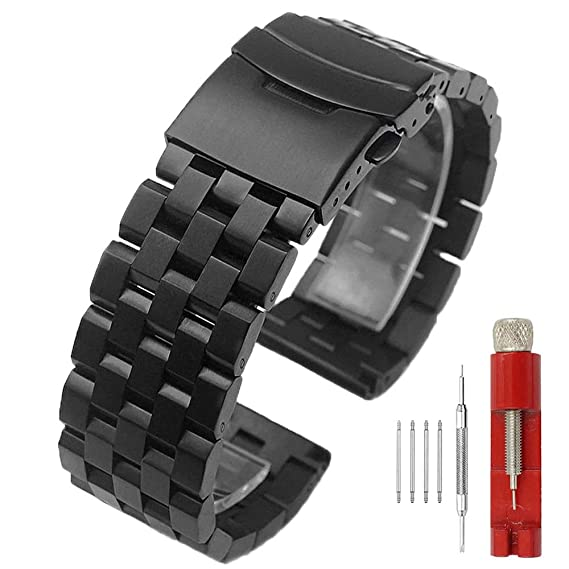 2a173e0a8ffc3 316L Stainless Steel 22mm Watch Band Brushed Wristband Classic Bracelet  Double Locking Clasp for Men Black Bracelet Strap Watch Belt: Amazon.ca:  Watches