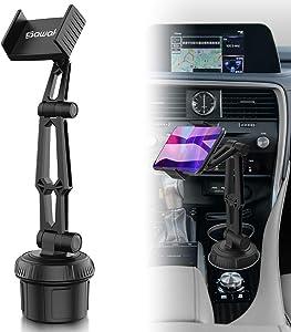 Car Cup Holder Phone Mount, SAWAKE Universal Adjustable Cell Phone Cup Holder Cradle Car Mount for iPhone Xs Max/XR/X/11/8/7 Plus/6S, Samsung Galaxy S20/S10/S9/S8/S7 Edge Note 9/8, Google Pixel, GPS