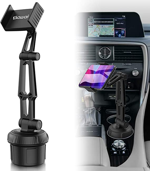 Car-Cup-Holder-Phone-Mount Adjustable Pole Automobile Cup Holder Smart Phone Cradle Car Mount for iPhone 11 Pro//XR//XS Max//X//8//7 Plus//6s//Samsung S10 //Note 9//S8 Plus//S7 Edge